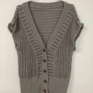 Sweaters - Open Knit V-Neck Short Sleeve Cardigan Coverup